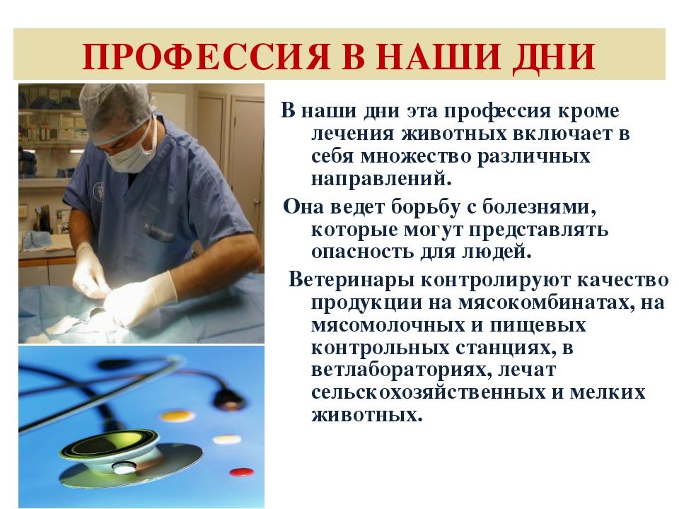 ПРОФЕССИЯ В НАШИ ДНИ В наши дни эта профессия кроме лечения животных включает...