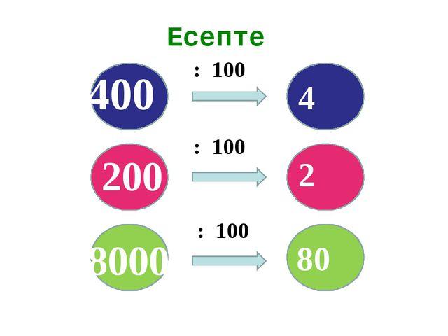 Есепте : 100 : 100 : 100 8000 200 400 4 2 80