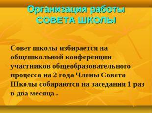 Организация работы СОВЕТА ШКОЛЫ Совет школы избирается на общешкольной конфер