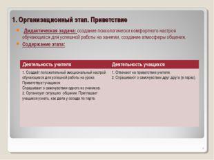 1. Организационный этап. Приветствие Дидактическая задача: создание психологи