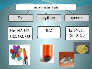 Агрегаттық күйі Газ сұйық қатты Br2 I2, P4, C, Si, B, S8 Не, N2, Н2, Cl2, O2,