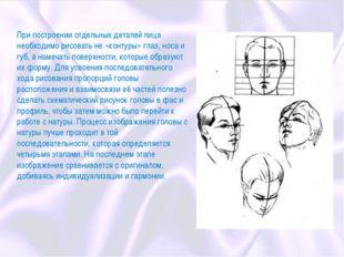 При построении отдельных деталей лица необходимо рисовать не «контуры» глаз,