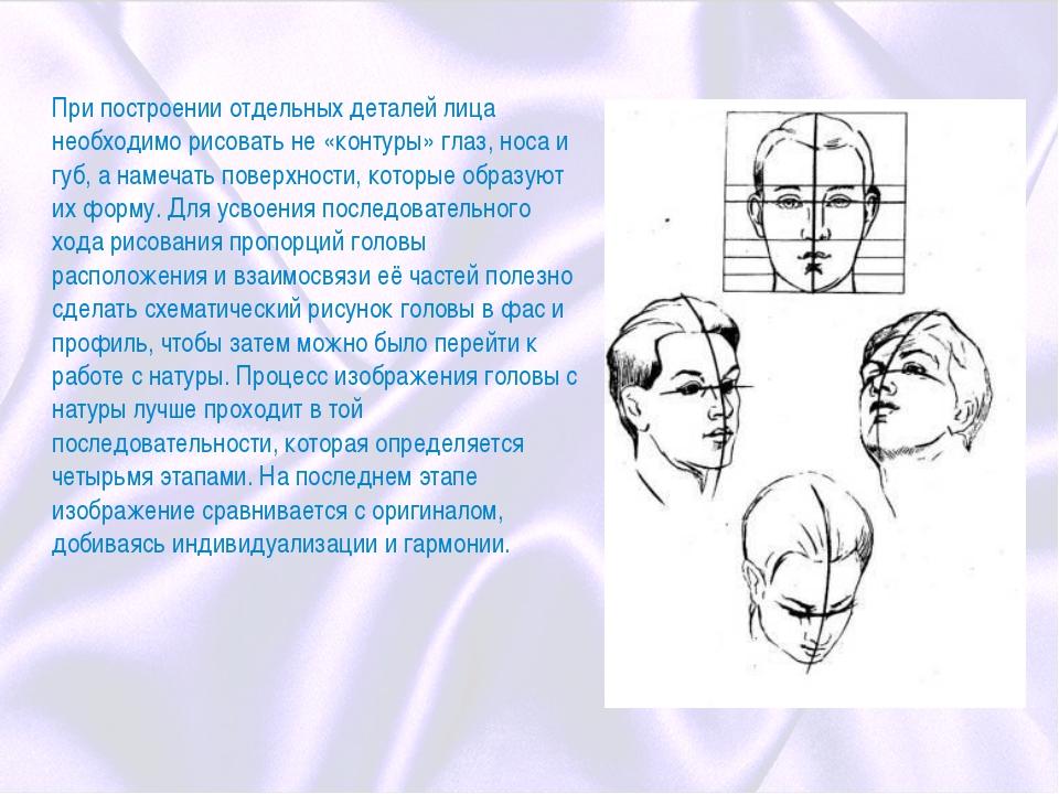 При построении отдельных деталей лица необходимо рисовать не «контуры» глаз,...