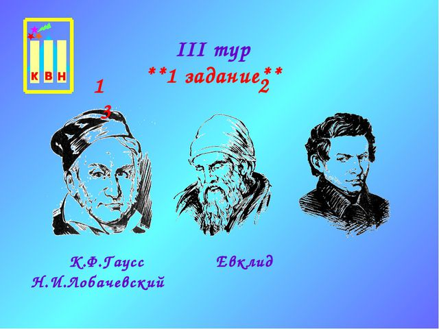 III тур **1 задание** К.Ф.Гаусс Евклид Н.И.Лобачевский 1 2 3