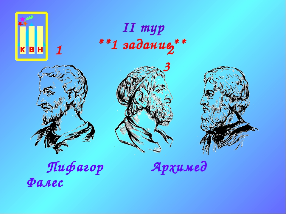 II тур **1 задание** Пифагор Архимед Фалес 1 2 3