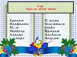 """5 тур """"Адасқан әріптер"""" ойыны Е,р,е,е,к,м Н,т,е,ф,к,о,и.а Р,і,ө,м М,і,і,б,і,"""