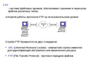 FTP - система файловых архивов, обеспечивает хранение и пересылку файлов разл