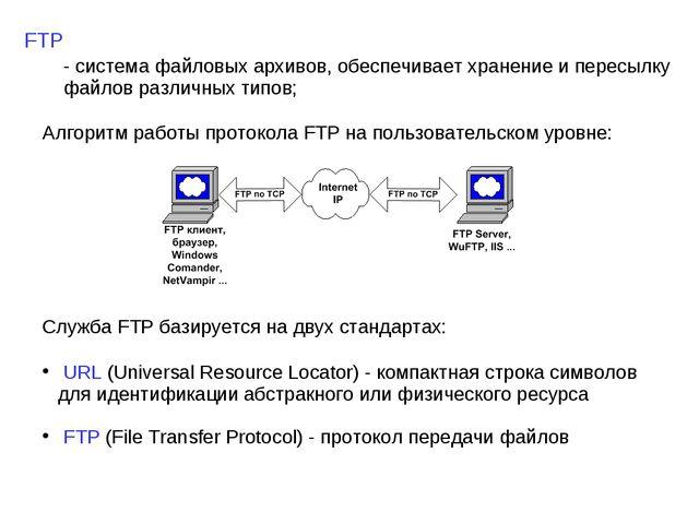 FTP - система файловых архивов, обеспечивает хранение и пересылку файлов разл...