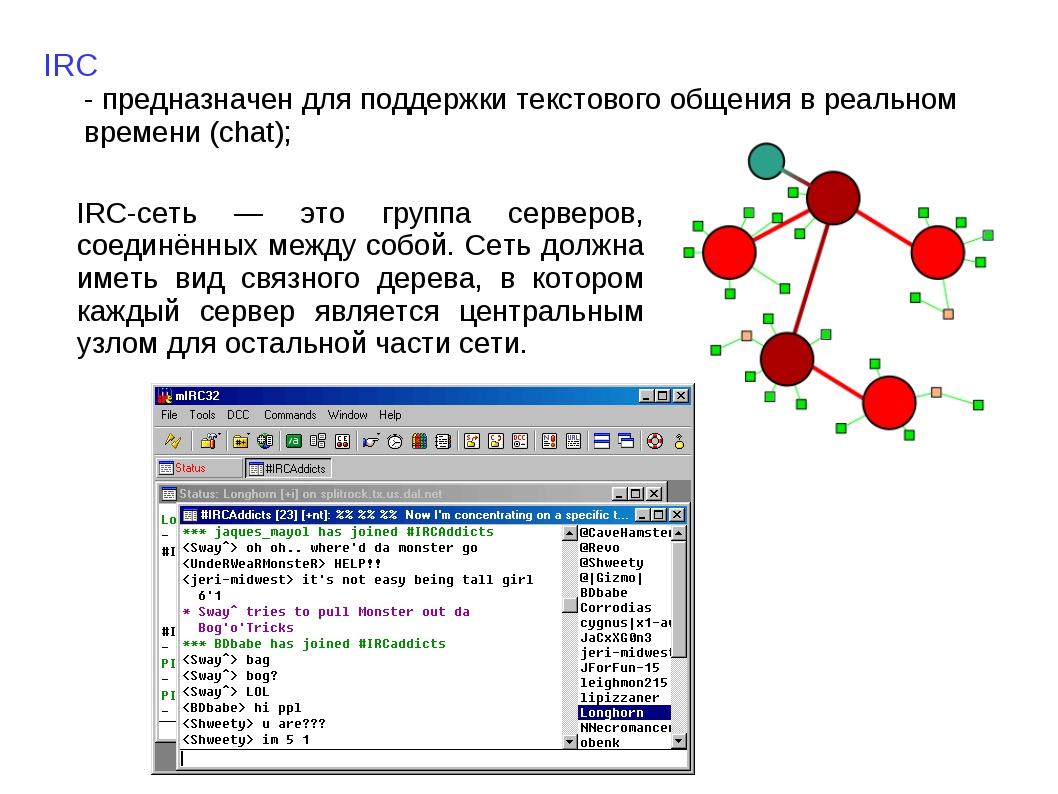 IRC - предназначен для поддержки текстового общения в реальном времени (chat)...