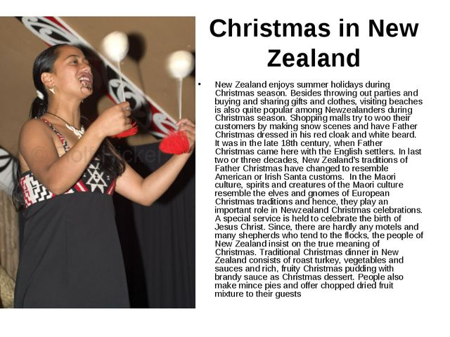 Christmas in New Zealand New Zealand enjoys summer holidays during Christmas...