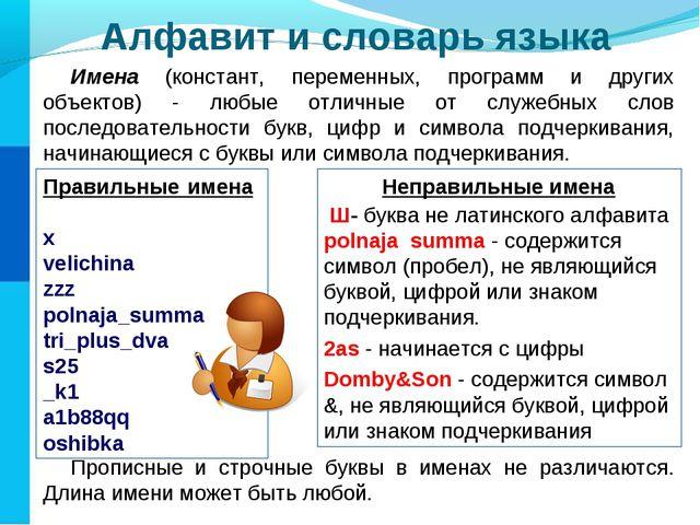 Алфавит и словарь языка Имена (констант, переменных, программ и других объект...