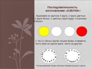Последовательность изготовления «АЗБУКИ»: Вырезаем из картона 4 круга, 2 круг
