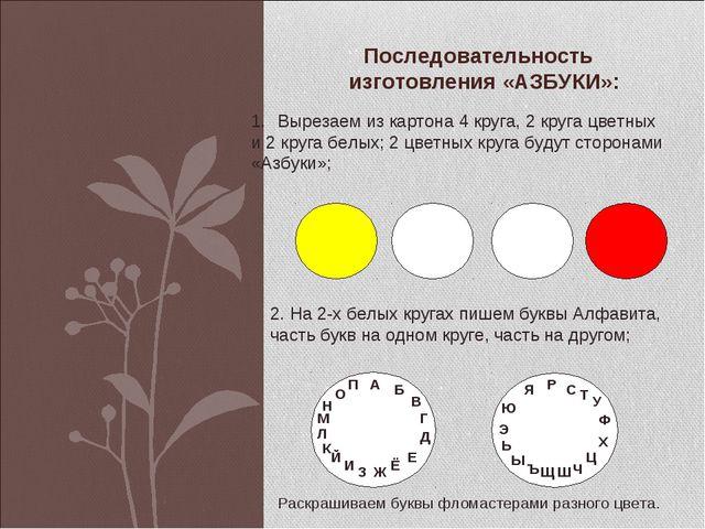 Последовательность изготовления «АЗБУКИ»: Вырезаем из картона 4 круга, 2 круг...