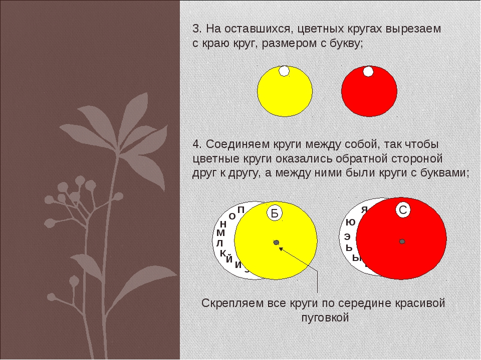 3. На оставшихся, цветных кругах вырезаем с краю круг, размером с букву; 4. С...
