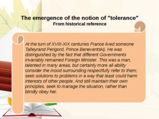 "The emergence of the notion of ""tolerance"" From historical reference At the"