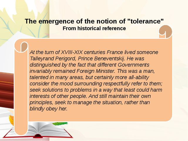 "The emergence of the notion of ""tolerance"" From historical reference At the..."