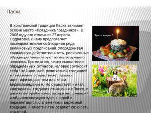Пасха В христианской традиции Пасха занимает особое место «Праздника праздник