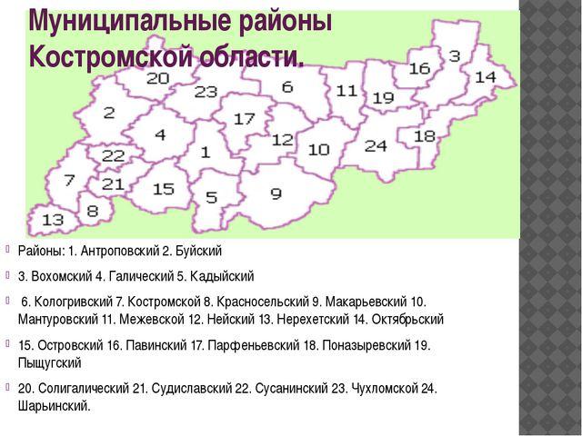 В картинках карта костромской области