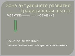 Зона актуального развития Традиционная школа РАЗВИТИЕ-------------------ОБУЧЕ