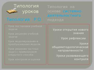 Типология уроков Типология Р О Типология на основе системно-деятельностного п