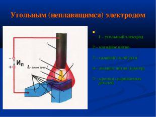 Угольным (неплавящимся) электродом 1 – угольный электрод 2 – катодное пятно 3