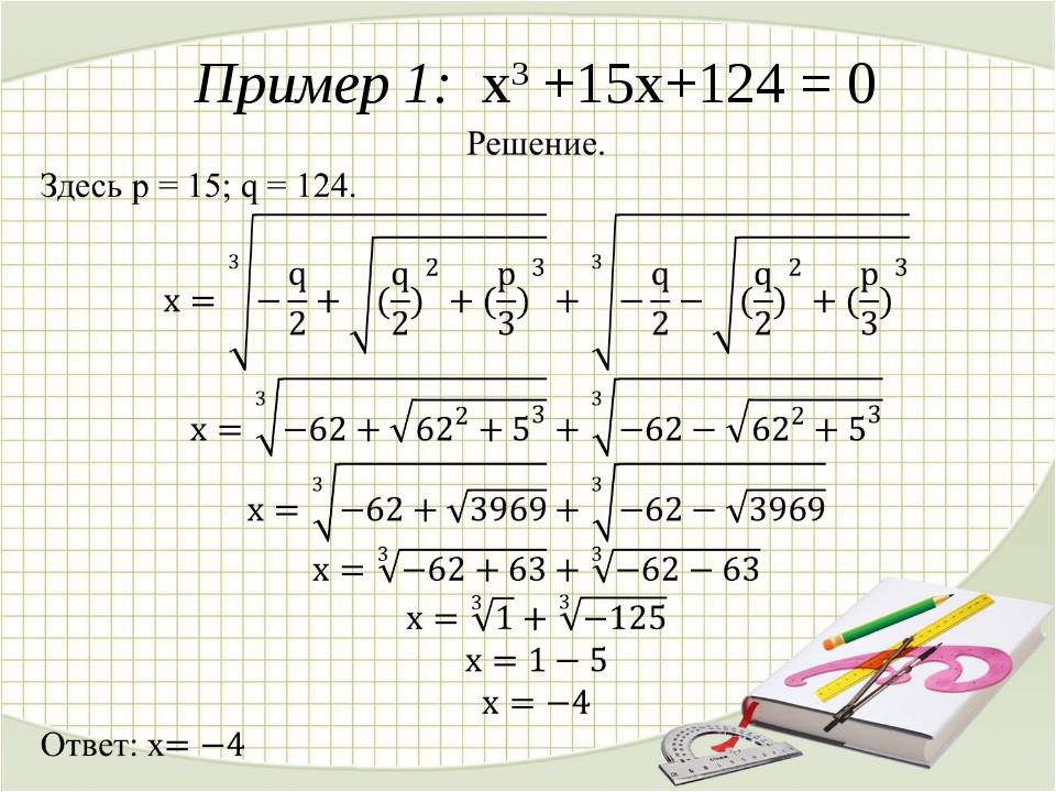 Пример 1: x3 +15x+124 = 0