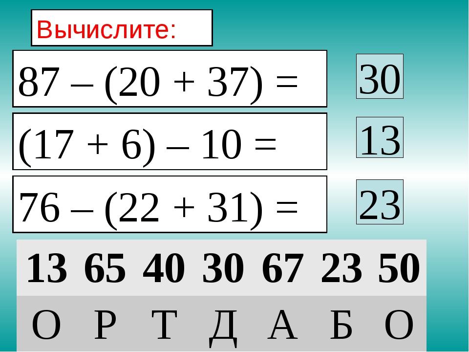 Вычислите: 30 13 23 87 – (20 + 37) = (17 + 6) – 10 = 76 – (22 + 31) = 13654...