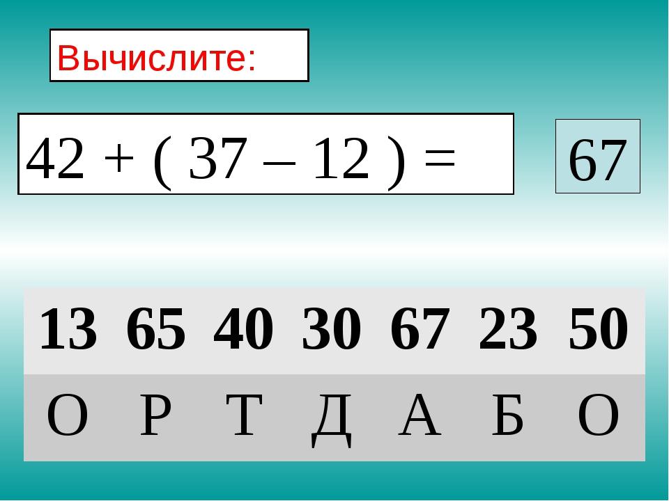 Вычислите: 67 42 + ( 37 – 12 ) = 13654030672350 ОРТДАБО