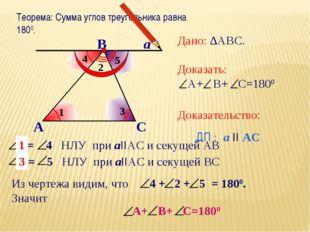 Теорема: Сумма углов треугольника равна 1800. А В С а Дано: ∆АВС. Доказать: А