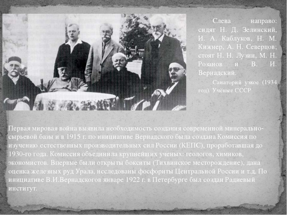 Первая мировая война выявила необходимость создания современной минерально-сы...