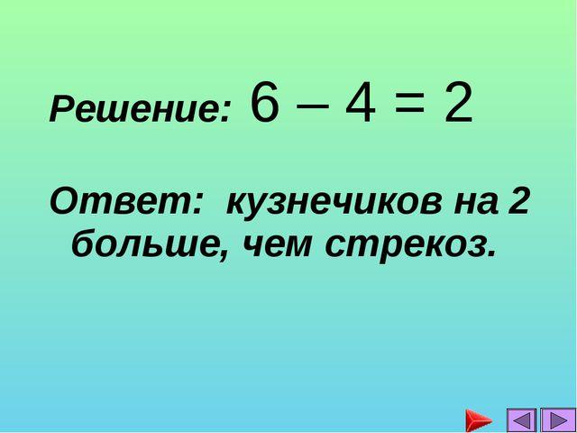Решение: 6 – 4 = 2 Ответ: кузнечиков на 2 больше, чем стрекоз....