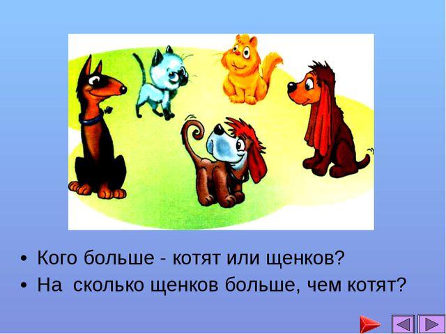 Кого больше - котят или щенков? На сколько щенков больше, чем котят?...
