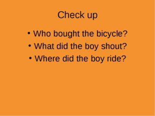 Check up Who bought the bicycle? What did the boy shout? Where did the boy ri