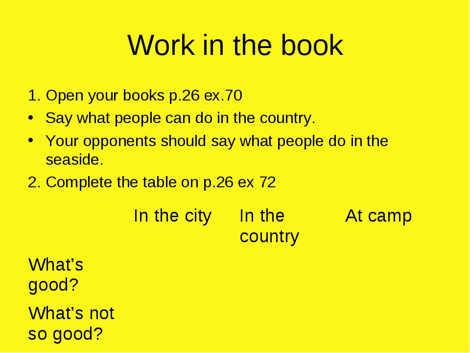 Work in the book 1. Open your books p.26 ex.70 Say what people can do in the...