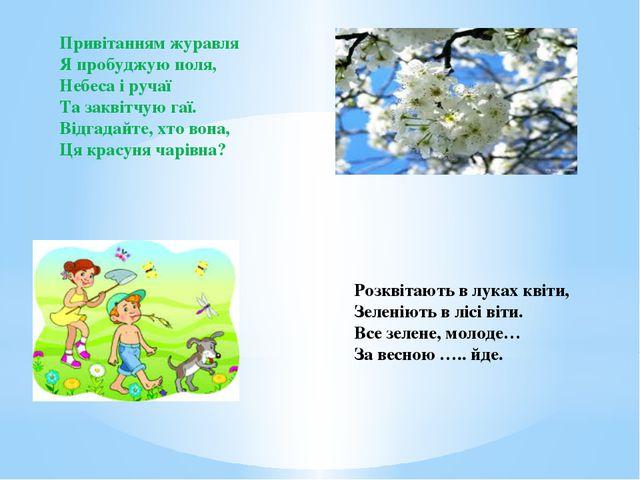 Привітанням журавля Я пробуджую поля, Небеса і ручаї Та заквітчую гаї. Відгад...