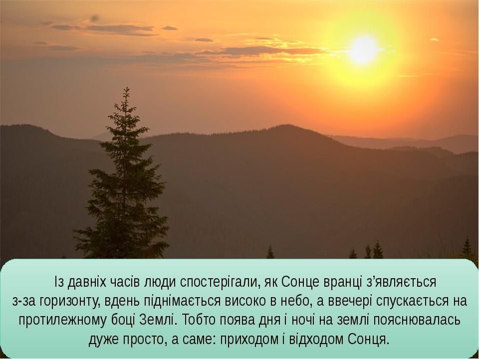 Із давніх часів люди спостерігали, як Сонце вранці з'являється з-за горизонт...