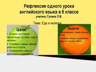 Рефлексия одного урока английского языка в 6 классе учитель Гулина Л.В. Тема: