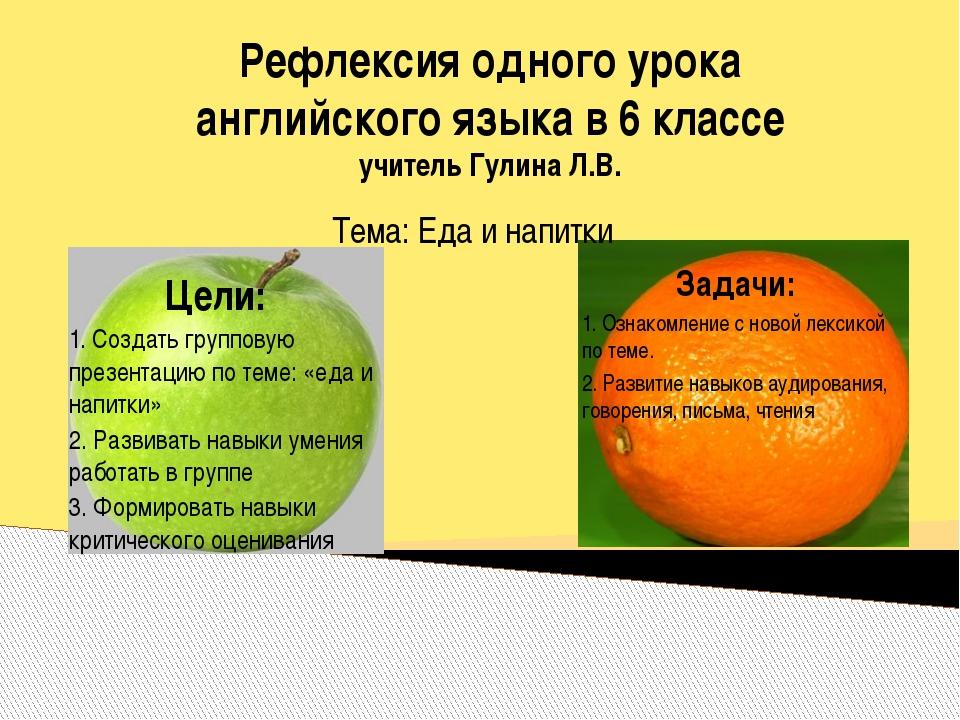 Рефлексия одного урока английского языка в 6 классе учитель Гулина Л.В. Тема:...