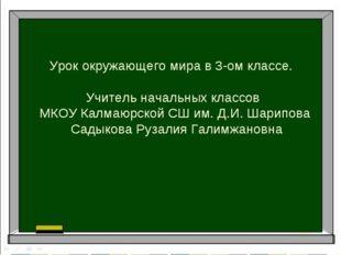 Урок окружающего мира в 3-ом классе. Учитель начальных классов МКОУ Калмаюрск