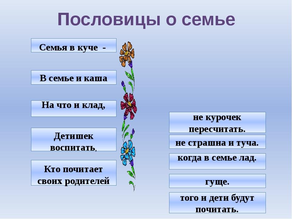 Пословицы о семье Кто почитает своих родителей Детишек воспитать, На что и кл...