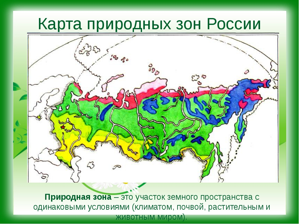 Карта природных зон России Природная зона – это участок земного пространства...