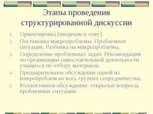 Этапы проведения структурированной дискуссии Ориентировка (введение в тему).