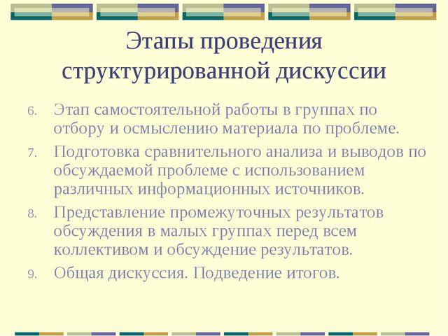 Этапы проведения структурированной дискуссии Этап самостоятельной работы в гр...