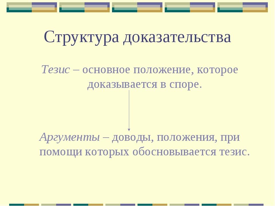 Структура доказательства Тезис – основное положение, которое доказывается в с...