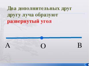 О А В Два дополнительных друг другу луча образуют развернутый угол