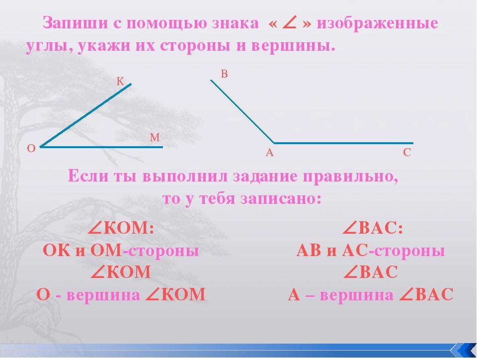 Запиши с помощью знака «  » изображенные углы, укажи их стороны и вершины. М...