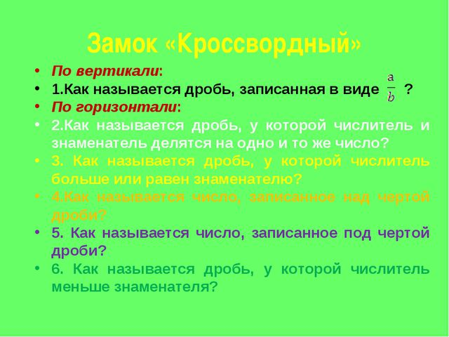 Замок «Кроссвордный» По вертикали: 1.Как называется дробь, записанная в виде...