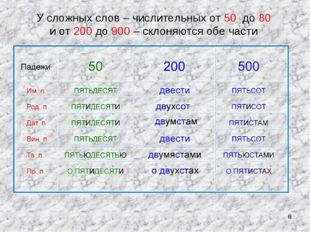 * У сложных слов – числительных от 50 до 80 и от 200 до 900 – склоняются обе