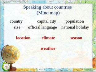 Speaking about countries (Mind map) country size population capital city nati