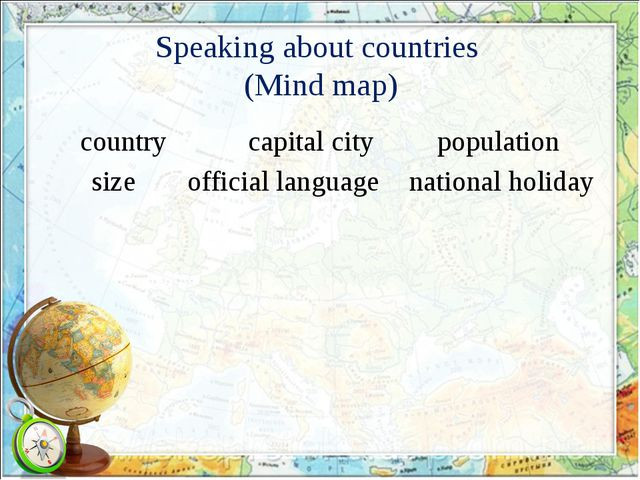 Speaking about countries (Mind map) country size population capital city nati...